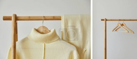 Photo for Collage of beige knitted soft sweater and pants hanging on wooden hanger on white background - Royalty Free Image