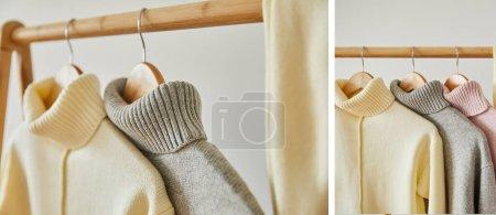 Photo pour Collage de pulls mous tricotés rose, beige et gris accrochés à des cintres en bois isolés sur blanc - image libre de droit