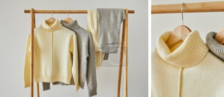 Photo for Collage of beige and grey knitted soft sweaters and pants hanging on wooden hangers isolated on white - Royalty Free Image