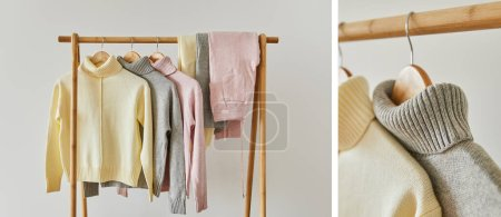 Photo for Collage of grey, pink and beige knitted soft sweater and pants hanging on wooden hanger isolated on white - Royalty Free Image