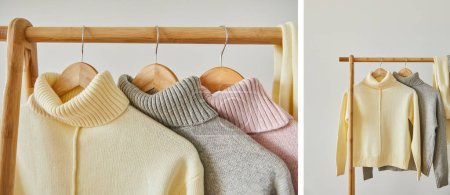 Photo for Collage of pink, beige and grey knitted soft sweaters hanging on wooden rack isolated on white - Royalty Free Image