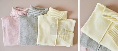 Photo for Collage of pink, beige and grey knitted soft sweaters - Royalty Free Image