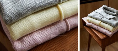 Photo for Collage of pink, beige and grey knitted soft sweaters on wooden table in room - Royalty Free Image