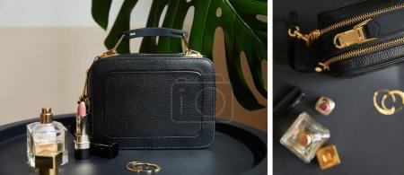 Photo pour Collage de sacs à main en cuir près de boucles d'oreilles dorées, parfum et rouge à lèvres sur une table noire près d'une feuille tropicale - image libre de droit