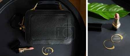 Photo pour Collage de sac à main en cuir près des boucles d'oreilles dorées et rouge à lèvres sur table noire avec feuille tropicale - image libre de droit