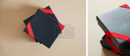 Photo for Collage of black gift boxes with red ribbons on beige background - Royalty Free Image
