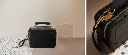 Foto de Collage de cuero negro bolso con cremalleras doradas en superficie de mármol sobre fondo beige - Imagen libre de derechos