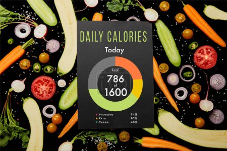 Photo for Top view of black card with daily calories illustration on vegetable pattern isolated on black - Royalty Free Image