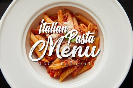 Photo pour Top view of tasty bolognese pasta with tomato sauce and Parmesan in white plate isolated on black, italian pasta menu illustration - image libre de droit