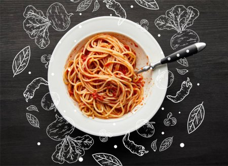 Photo for Top view of tasty bolognese pasta with tomato sauce in white plate on black wooden background, food illustration - Royalty Free Image
