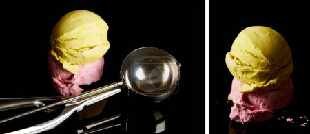 Photo for Collage of delicious lemon, strawberry ice cream balls with scoop on black - Royalty Free Image