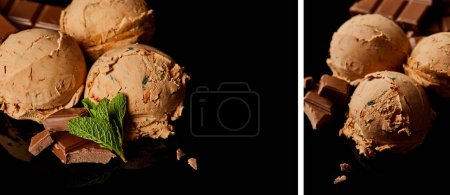 Photo for Collage of fresh delicious chocolate ice cream with mint leaves isolated on black - Royalty Free Image