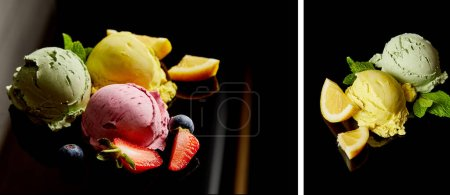 Photo for Collage of delicious lemon, berry and mint ice cream balls on black - Royalty Free Image