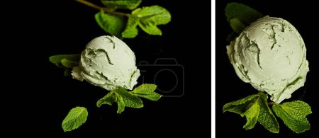 Photo for Collage of fresh delicious green mint ice cream with leaves isolated on black - Royalty Free Image