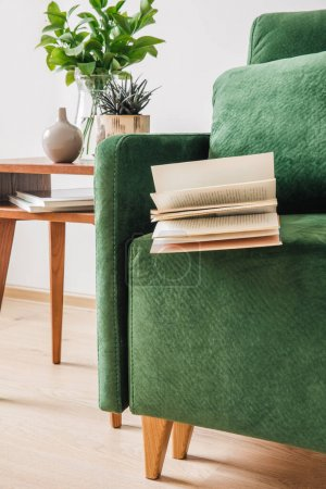 Photo for Green sofa with pillow, book and blanket near wooden coffee table with plants - Royalty Free Image