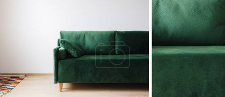 Photo for Collage of green sofa near colorful rug - Royalty Free Image