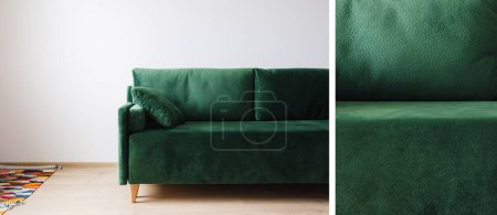 Photo pour Collage de canapé vert près d'un tapis coloré - image libre de droit