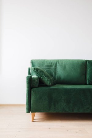 Photo for Close up view of modern green sofa with pillow in room - Royalty Free Image