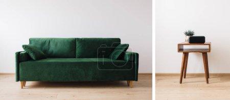 Photo pour Collage de canapé vert avec oreillers et table basse en bois avec plante et réveil. - image libre de droit