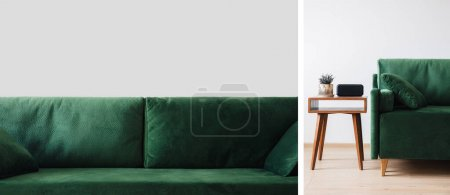 collage of green sofa with pillows and wooden coffee table with plant and alarm clock