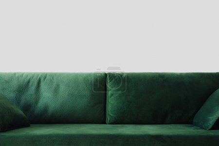 Photo for Close up view of modern green sofa with pillows in room - Royalty Free Image
