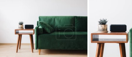 Collage aus grünem Sofa mit Kissen und Holztisch mit Pflanze und Wecker