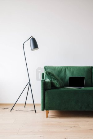 green sofa with pillow and laptop with blank screen near metal modern floor lamp