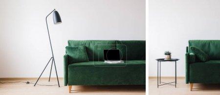 Foto de Collage de sofá verde con almohada y portátil con pantalla en blanco en libros cerca de metal moderna lámpara de pie y mesa de centro con planta - Imagen libre de derechos