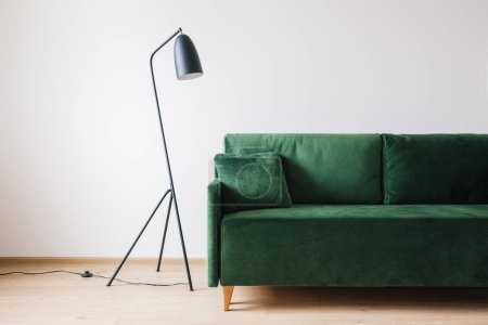Photo for Green sofa with pillow near metal modern floor lamp - Royalty Free Image