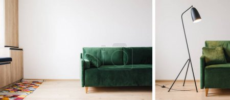 Photo for Collage of green sofa with pillow, metal modern floor lamp, carpet and wooden cabinets - Royalty Free Image