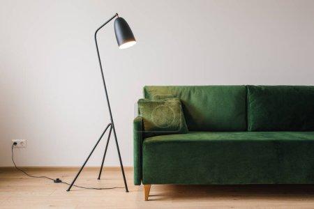 Photo pour Canapé vert avec oreiller près d'un lampadaire métallique moderne - image libre de droit