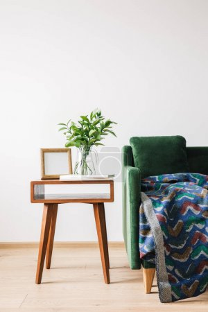 Photo for Green sofa with pillow and blanket near wooden coffee table with green plant, books and photo frame - Royalty Free Image