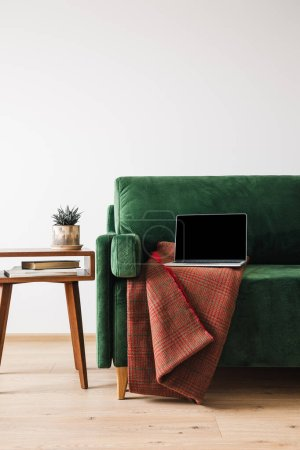 Foto de Sofá verde con manta y portátil cerca de mesa de centro de madera con plantas y libros - Imagen libre de derechos