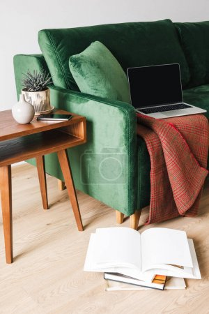 Photo for Green sofa with blanket and laptop near wooden coffee table with plant and smartphone near books on floor - Royalty Free Image