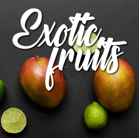 top view of ripe limes and mango on black background with exotic fruits illustration