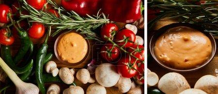 Photo pour Collage de sauce délicieuse dans un bol près de légumes frais mûrs - image libre de droit