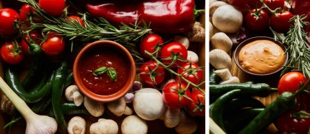 Photo for Collage of delicious sauces in bowls near fresh ripe vegetables, rosemary and mushrooms - Royalty Free Image