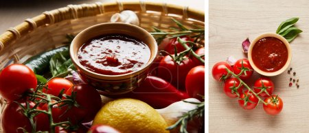 Photo for Collage of delicious tomato sauce with fresh ripe vegetables in basket on wooden table - Royalty Free Image