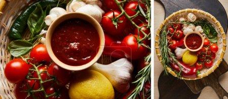 Photo pour Collage de délicieuse sauce tomate avec des légumes frais mûrs dans le panier - image libre de droit