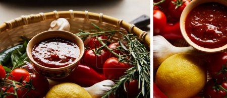 collage of delicious tomato sauce with fresh ripe vegetables in basket