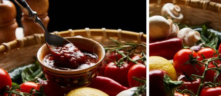 collage of delicious tomato sauce with spoon near fresh ripe vegetables in basket