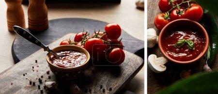 Collage aus köstlicher Tomatensauce in Schüssel mit Löffel in der Nähe von Tomaten und Gewürzen auf Holzbrett