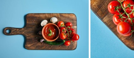 Photo for Collage of delicious tomato sauce in bowl on wooden board with fresh ripe vegetables on blue background - Royalty Free Image