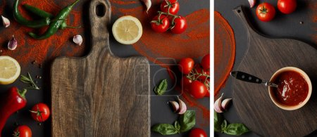Photo for Collage of tomato paste in bowl on chopping board near vegetables and herbs on black - Royalty Free Image