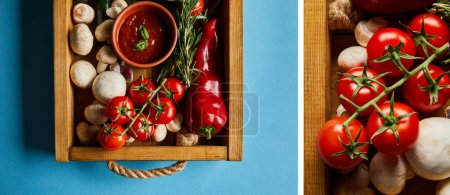 Photo for Collage of tomato sauce in bowl near mushrooms, red cherry tomatoes, rosemary and chili pepper in wooden box on blue - Royalty Free Image
