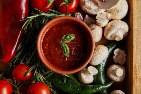 Ansicht von Tomatensauce mit Basilikumblättern in der Nähe von Kirschtomaten, grünen Chilischoten, Pilzen und Rosmarin