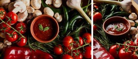 Collage aus Tomatensauce in Schalen in der Nähe von Champignons, roten Kirschtomaten, Rosmarin und Chilischoten in Holzkiste auf schwarz