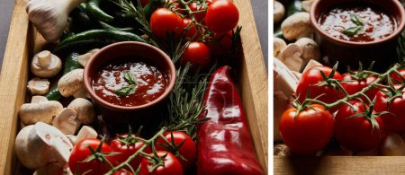 Collage aus Basilikumblättern in Tomatensauce in der Nähe von Pilzen, roten Kirschtomaten, Rosmarin und Chilischoten in Holzkiste auf schwarz