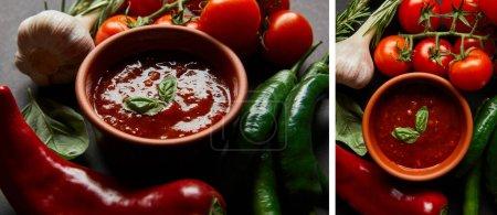 Collage aus Basilikumblättern in Tomatensauce in der Nähe von roten Kirschtomaten, Rosmarin, Knoblauch und Chilischoten auf Schwarz