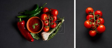 Photo for Collage of tomato sauce in bowl near red cherry tomatoes, rosemary, garlic and chili peppers on black - Royalty Free Image